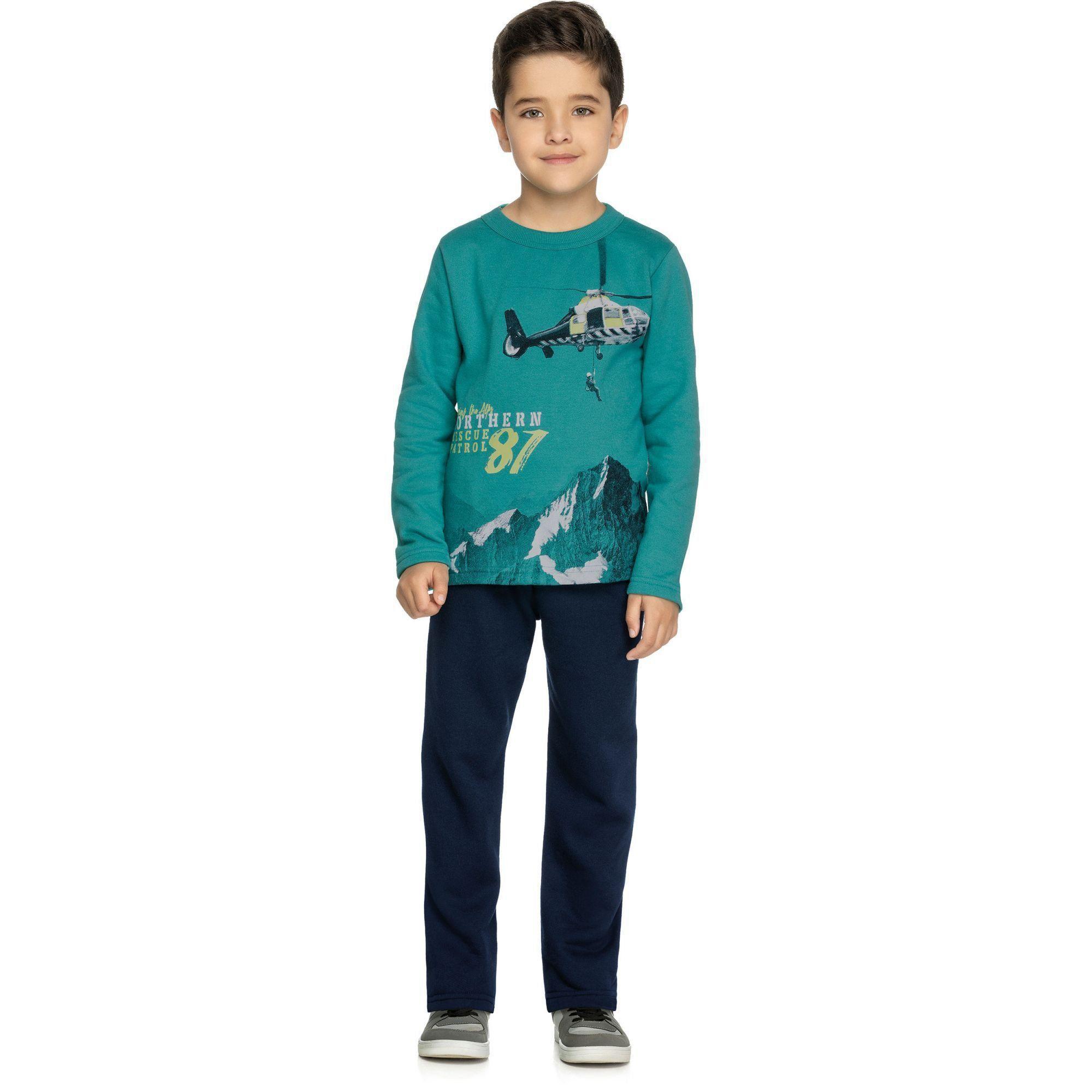 Conjunto Infantil Masculino Inverno Verde Exploring Elian
