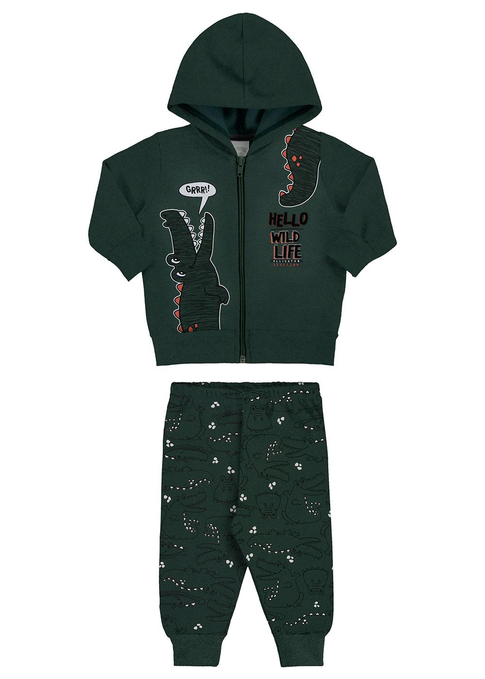 Conjunto Infantil Masculino Inverno Verde Wild - Alakazoo