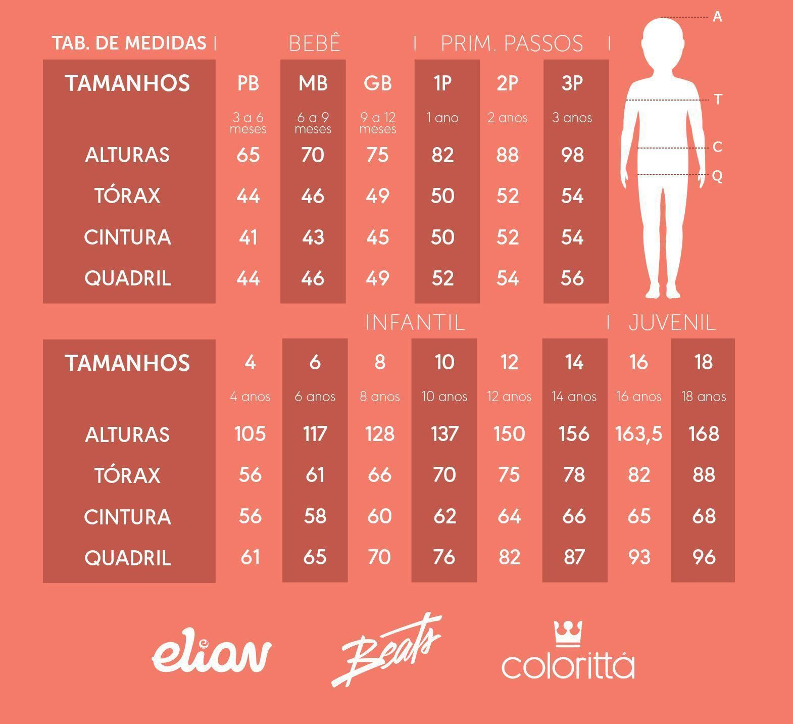 Conjunto Infantil Masculino Preto Downtown - Elian: Tabela de medidas