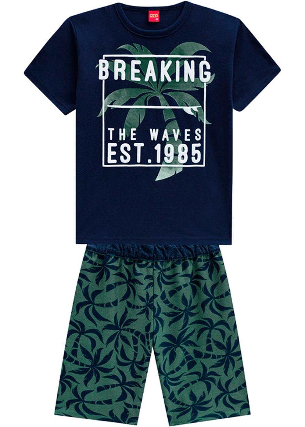 Conjunto Infantil Masculino Verão Azul Breaking Kyly