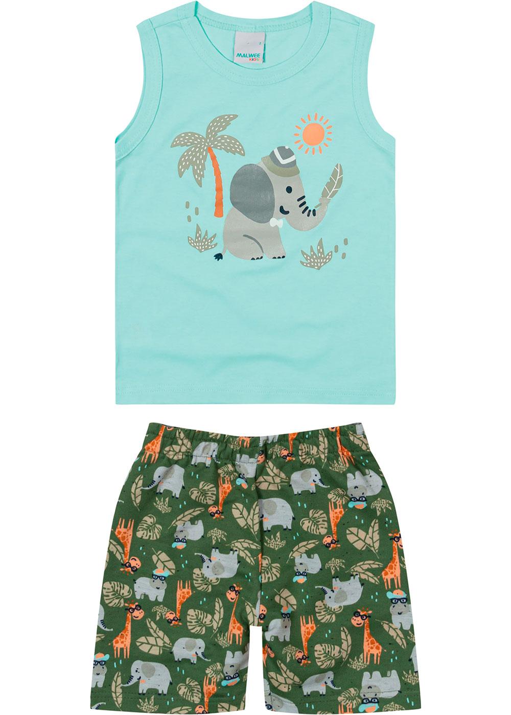 Conjunto Infantil Masculino Verão Azul Elefante - Malwee