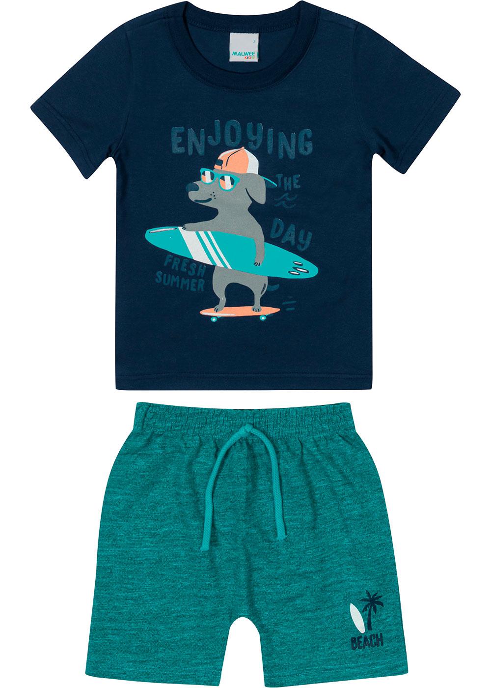 Conjunto Infantil Masculino Verão Azul Enjoying - Malwee