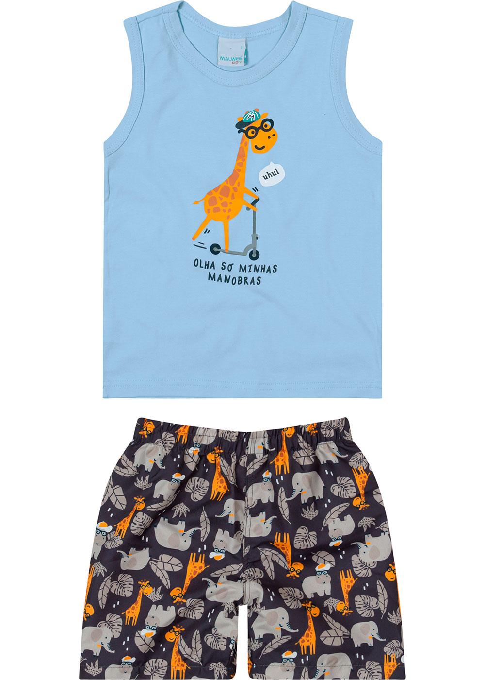 Conjunto Infantil Masculino Verão Azul Manobras - Malwee