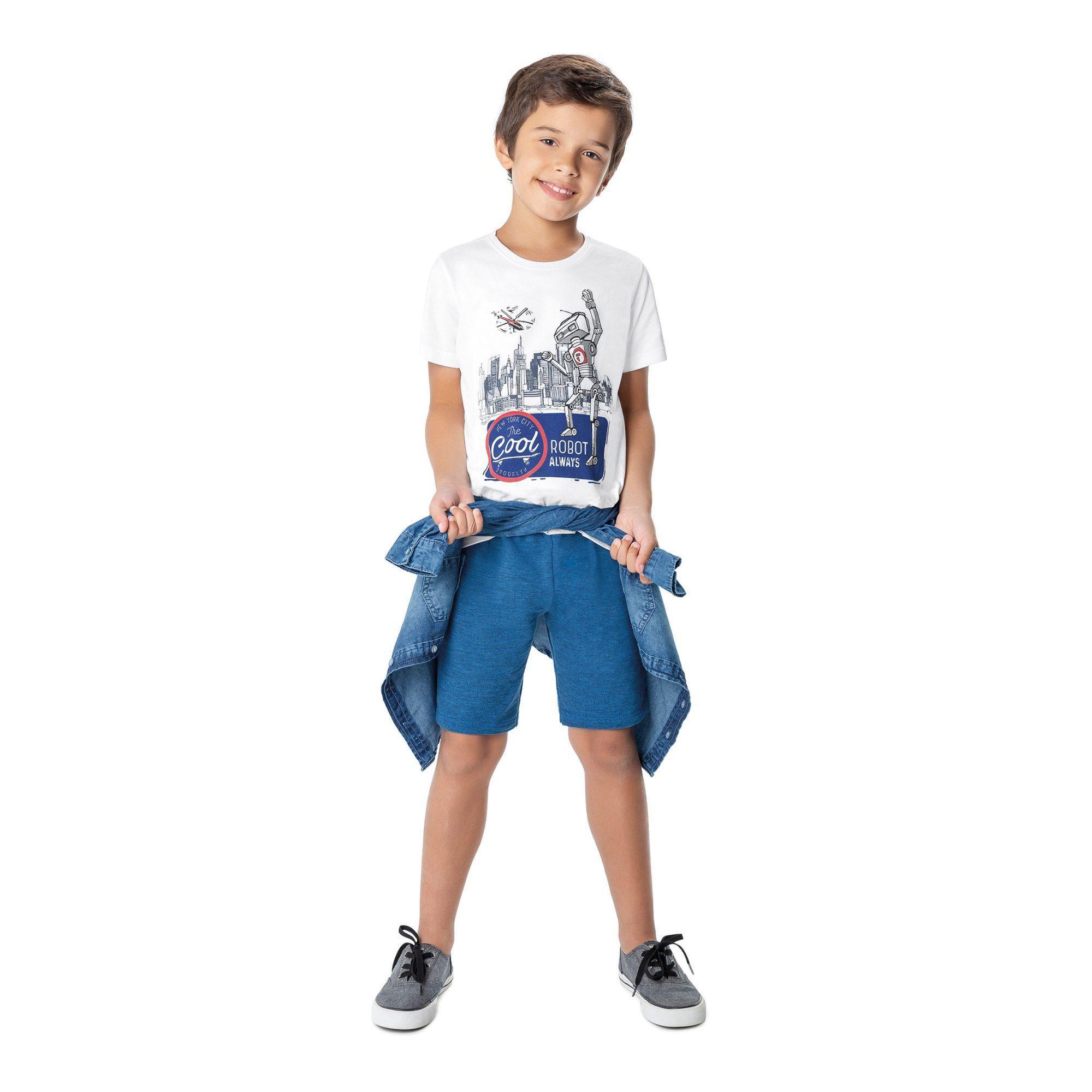 Conjunto Infantil Masculino Verão Branco Cool Malwee