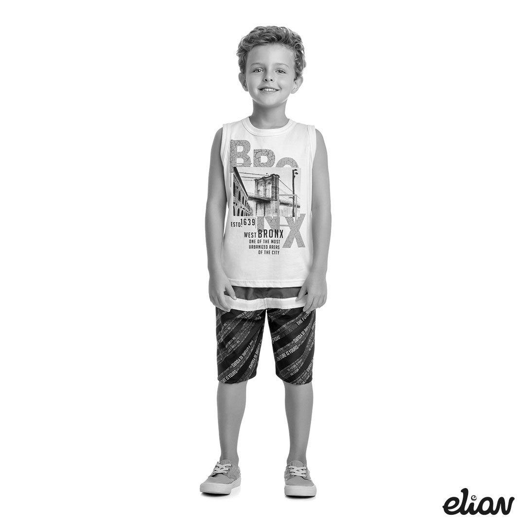 Conjunto Infantil Masculino Verão Cinza Mescla Escuro Bronx Elian