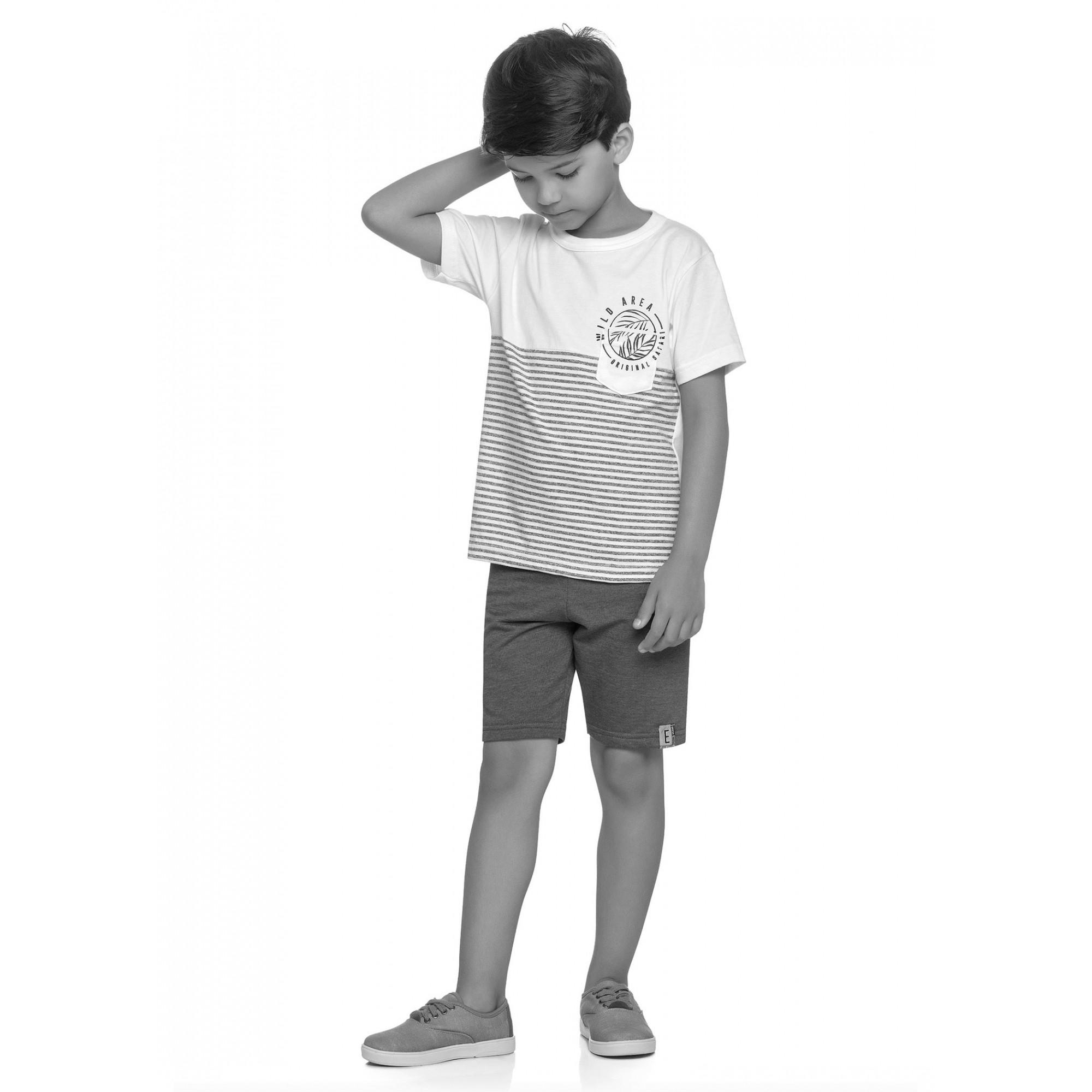 Conjunto Infantil Masculino Verão Cinza Safari Elian