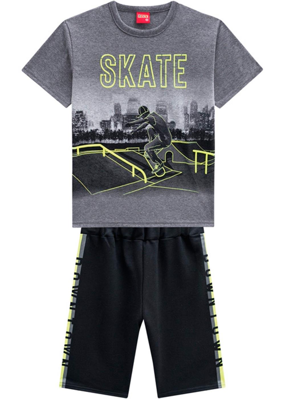 Conjunto Infantil Masculino Verão Cinza Skate Kyly