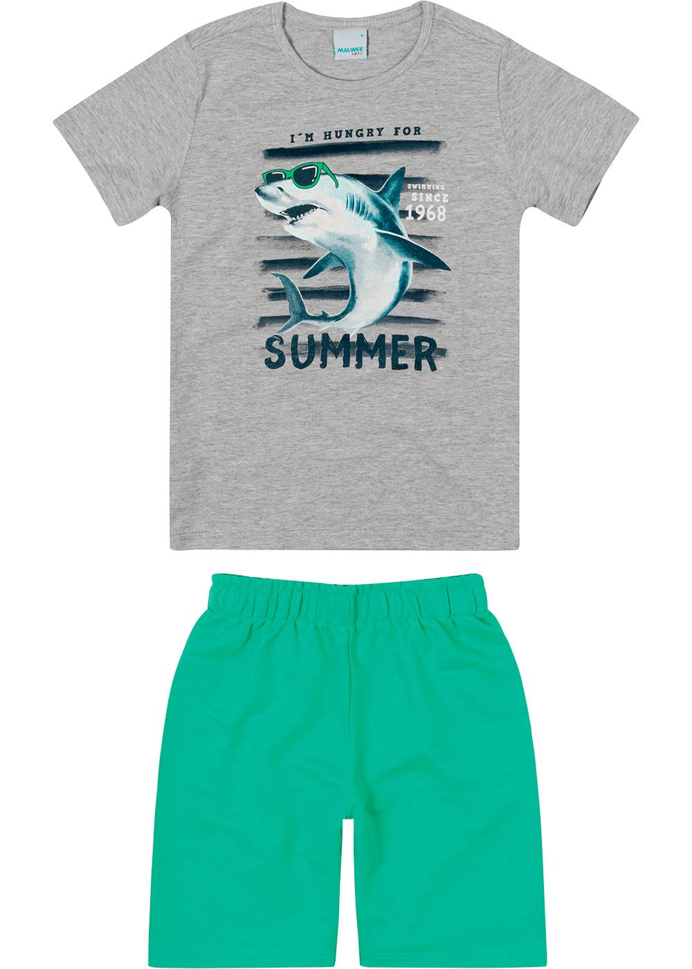 Conjunto Infantil Masculino Verão Cinza Summer - Malwee