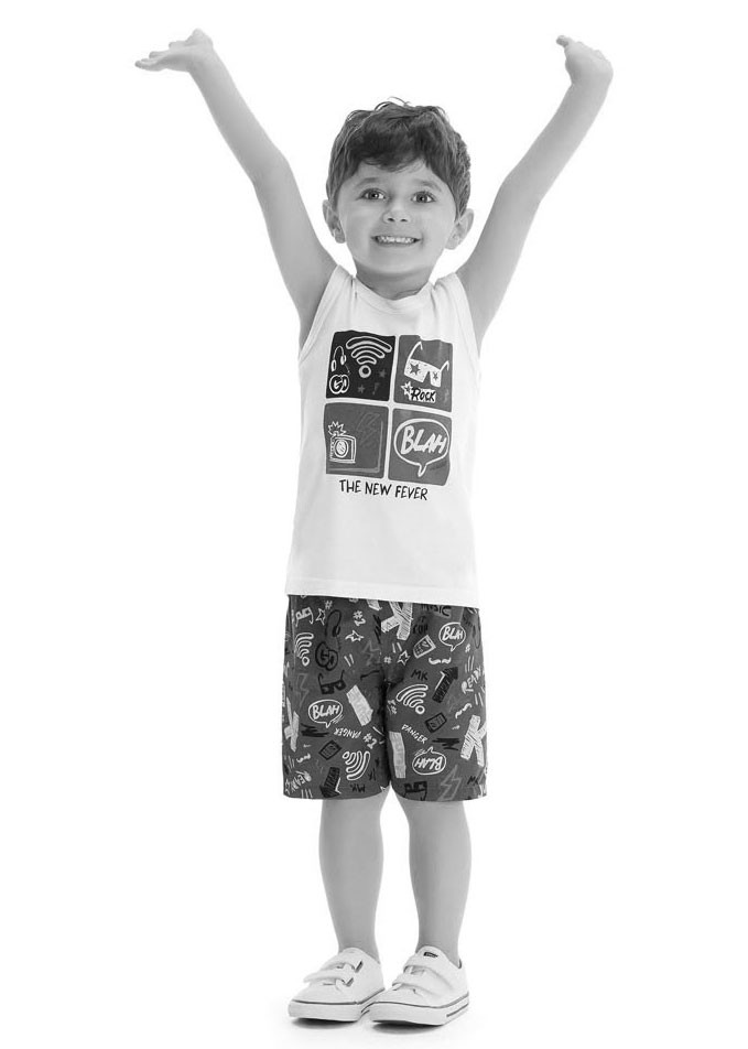 Conjunto Infantil Masculino Verão Cinza Surf Malwee