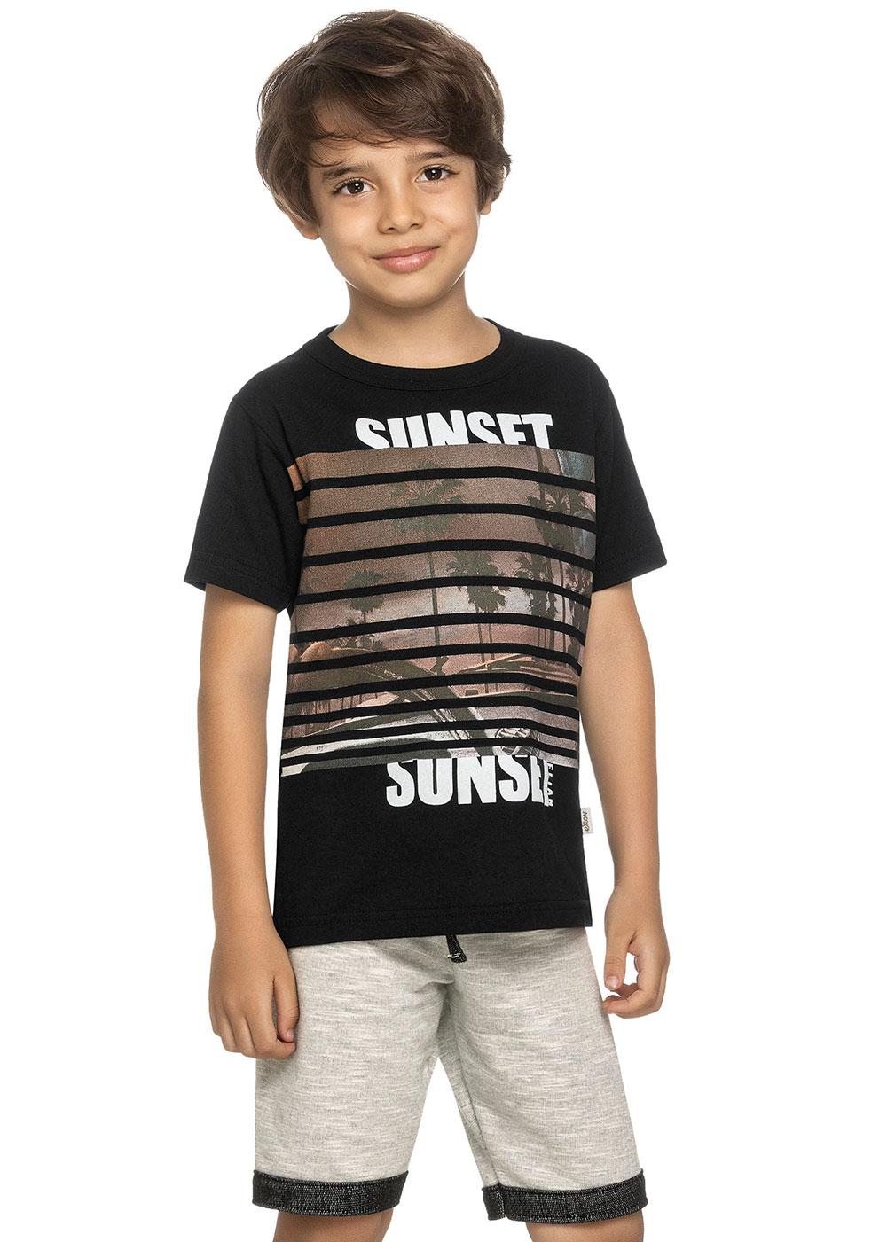 Conjunto Infantil Masculino Verão Preta Sunset Elian