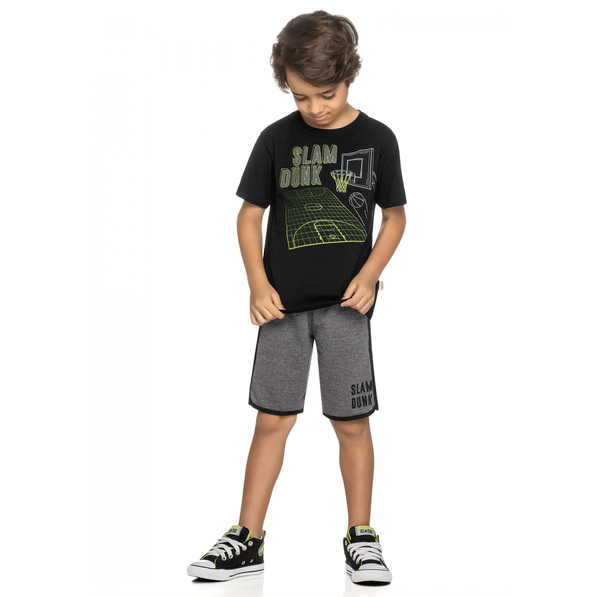 Conjunto Infantil Masculino Verão Preto Basket Elian