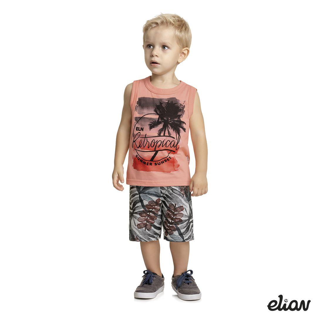 Conjunto Infantil Masculino Verão Salmão Retropical Elian