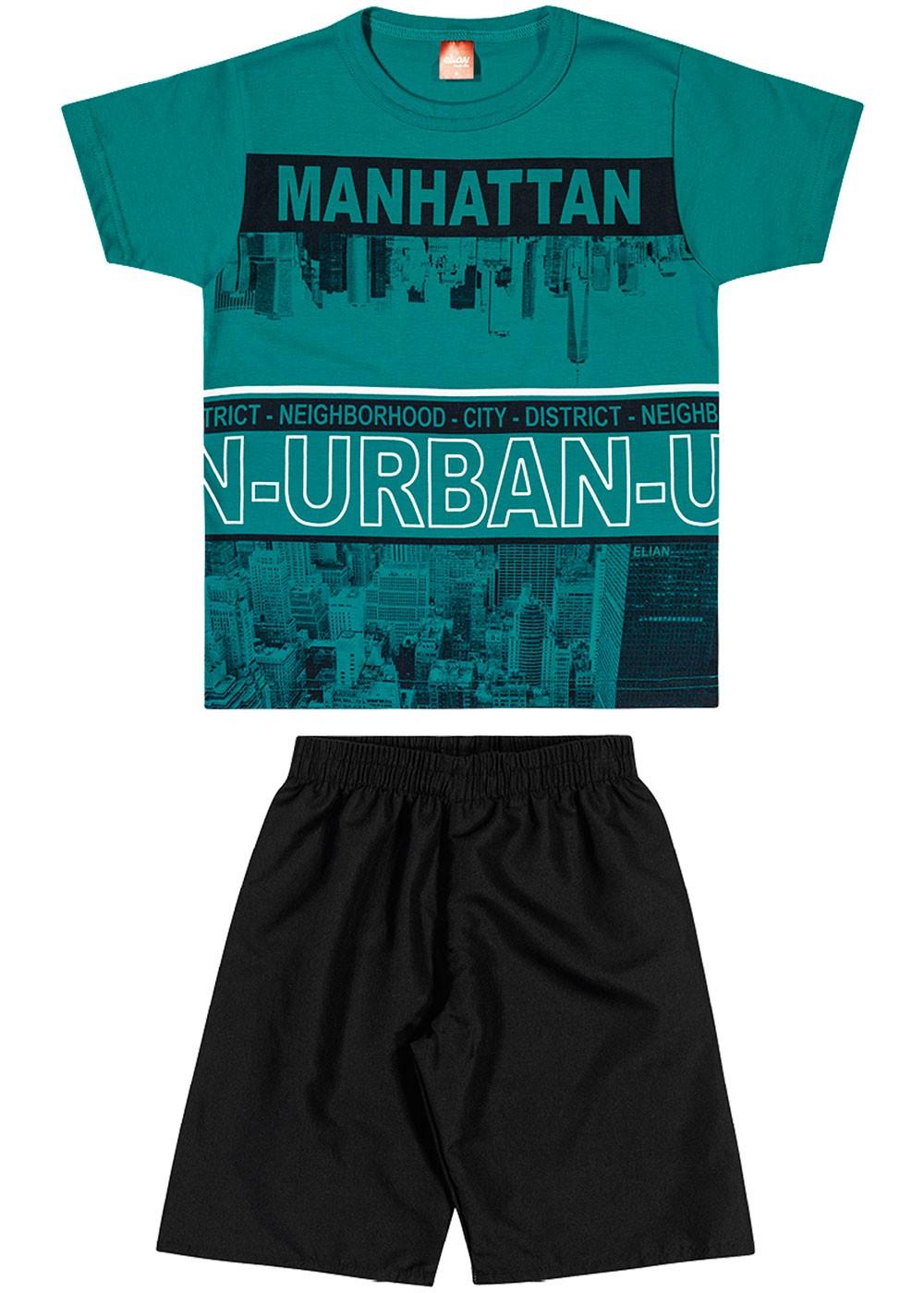 Conjunto Infantil Masculino Verão Verde Manhattan Elian