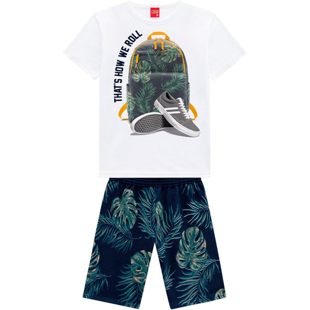 Conjunto Infantil Masculino Verão Branco Roll Kyly