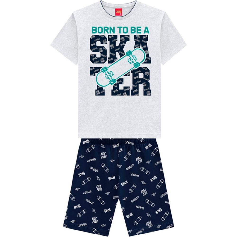 Conjunto Infantil Masculino Verão Cinza Skater Kyly