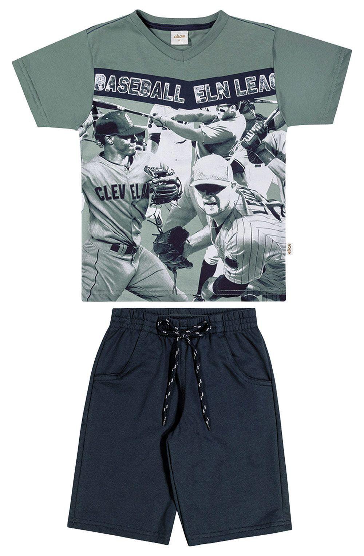 Conjunto lnfantil Masculino Verão Verde Baseball Elian