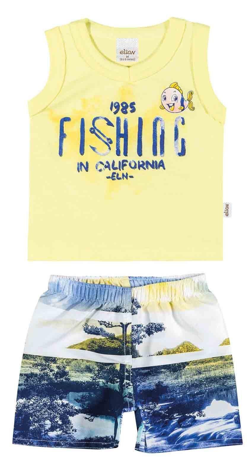 Conjunto Infantil Masculino Amarelo Fishing Elian
