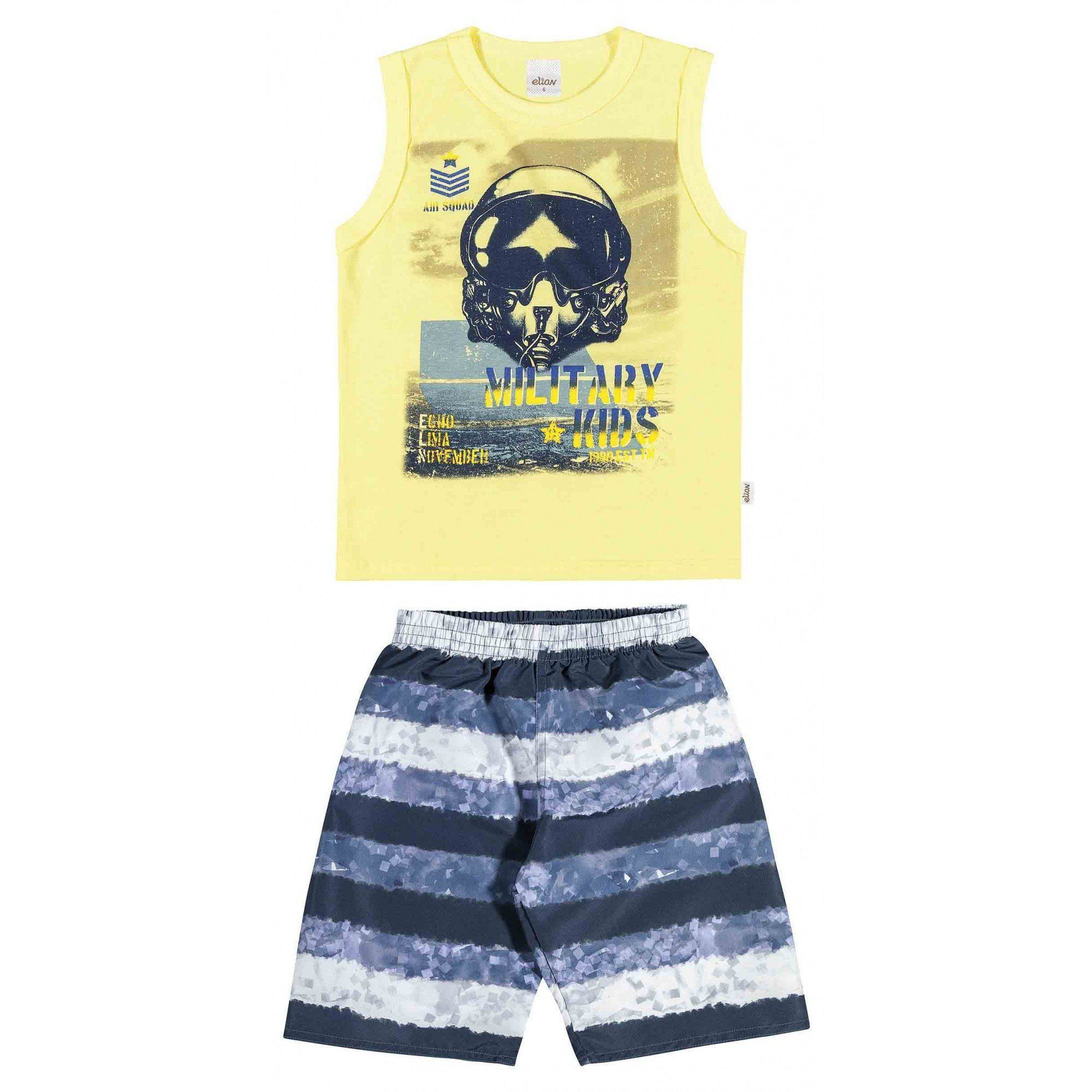 Conjunto Infantil Masculino Amarelo Military Elian