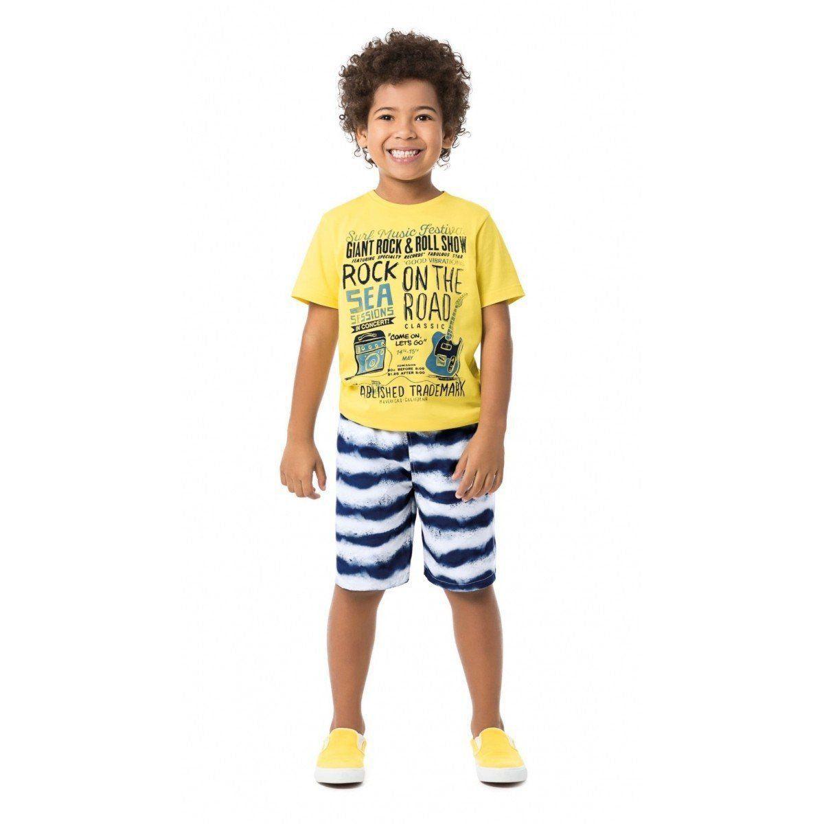 Conjunto Infantil Masculino Amarelo Rock Malwee