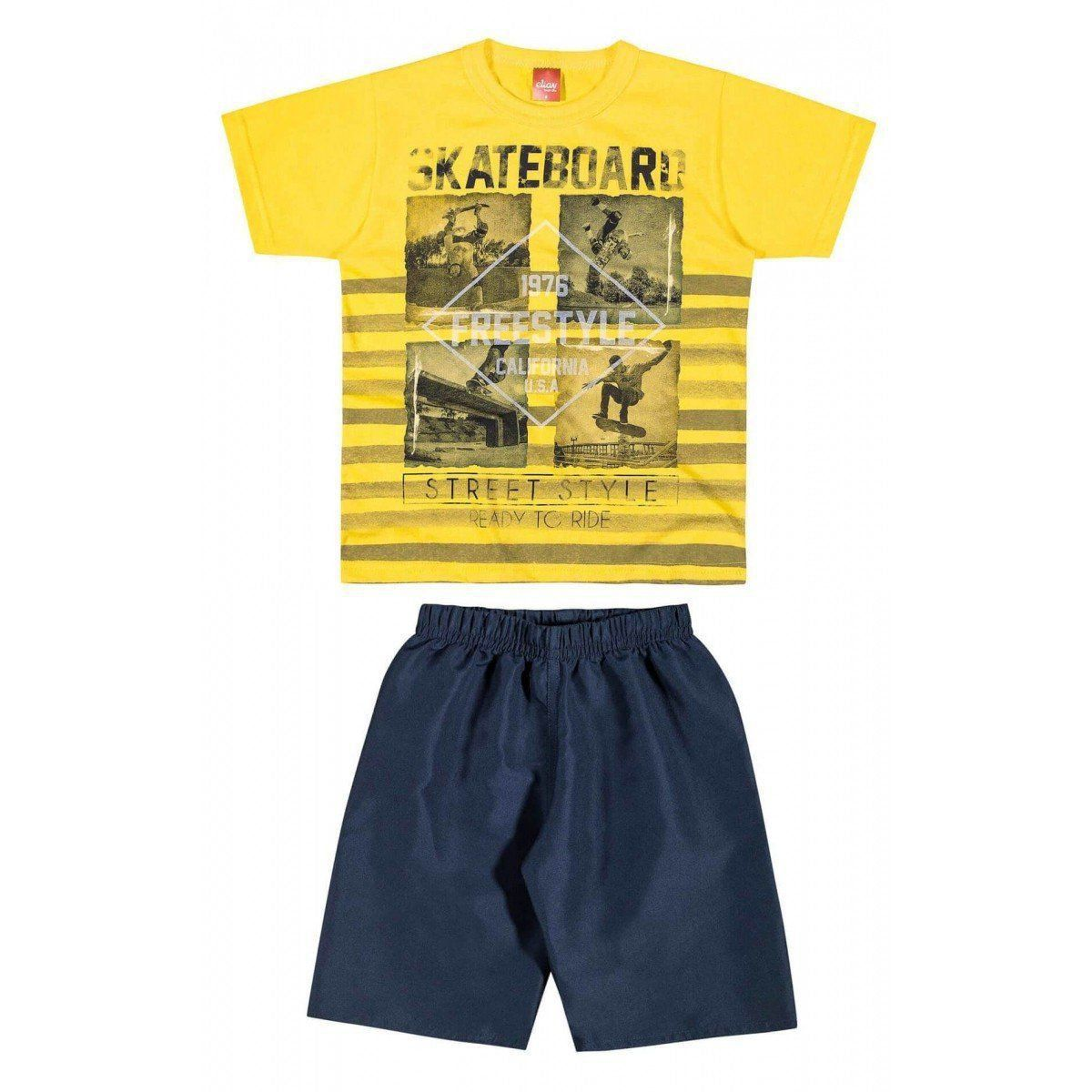 Conjunto Infantil Masculino Amarelo Skateboard Elian