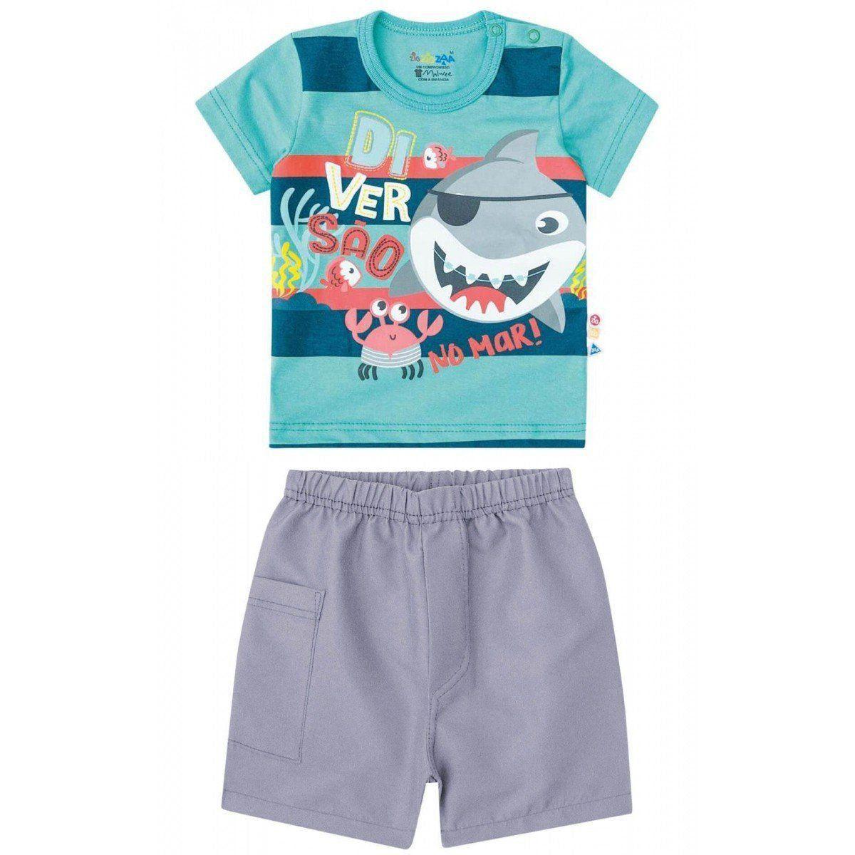 Conjunto Infantil Masculino Azul Diversão no Mar Zig Zig Zaa