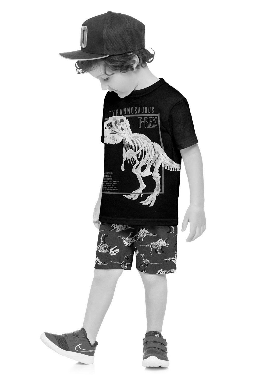 Conjunto Infantil Masculino Short e Camiseta Estampa Dinossauro Azul Marinho - Kyly
