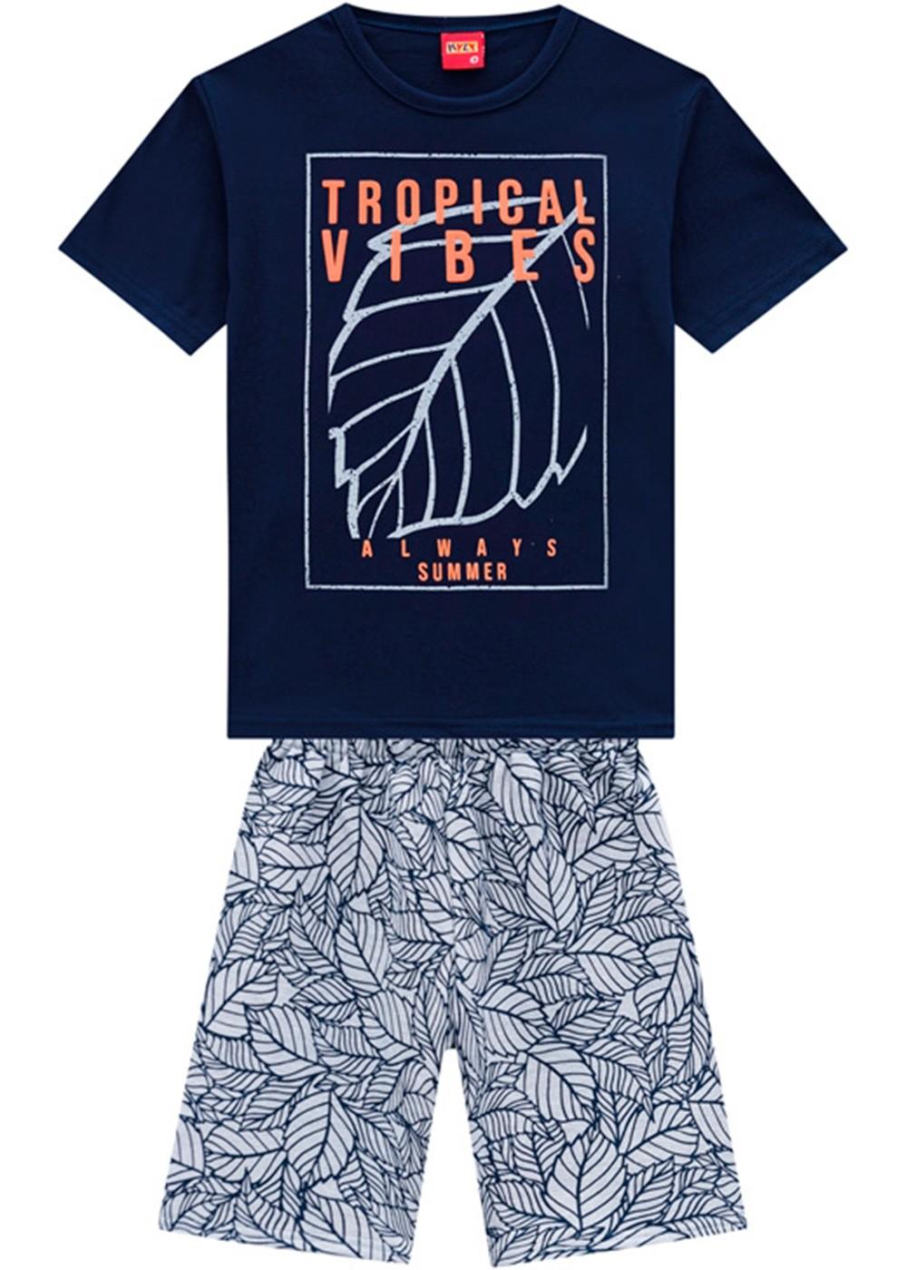 Conjunto Infantil Masculino Short e Camiseta Azul Marinho - Kyly