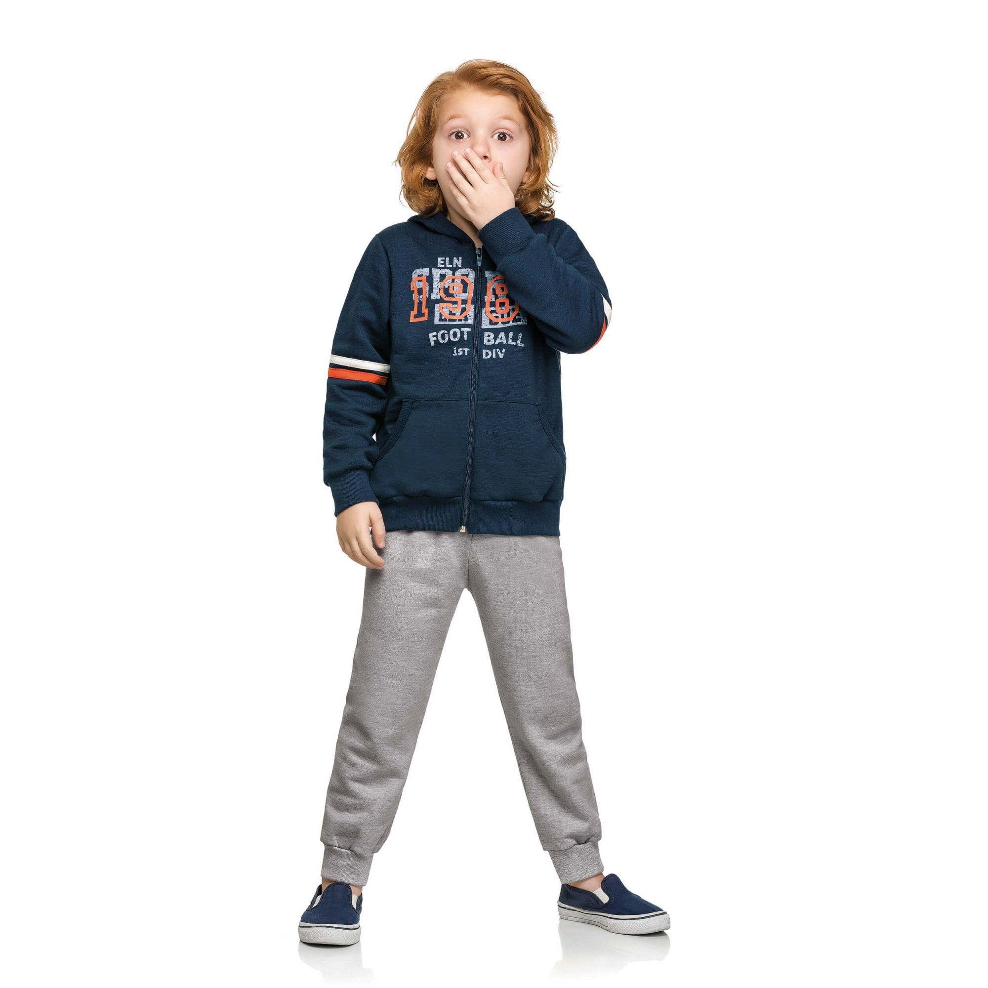 Conjunto Infantil Masculino Inverno Azul Marinho Foot Ball Elian