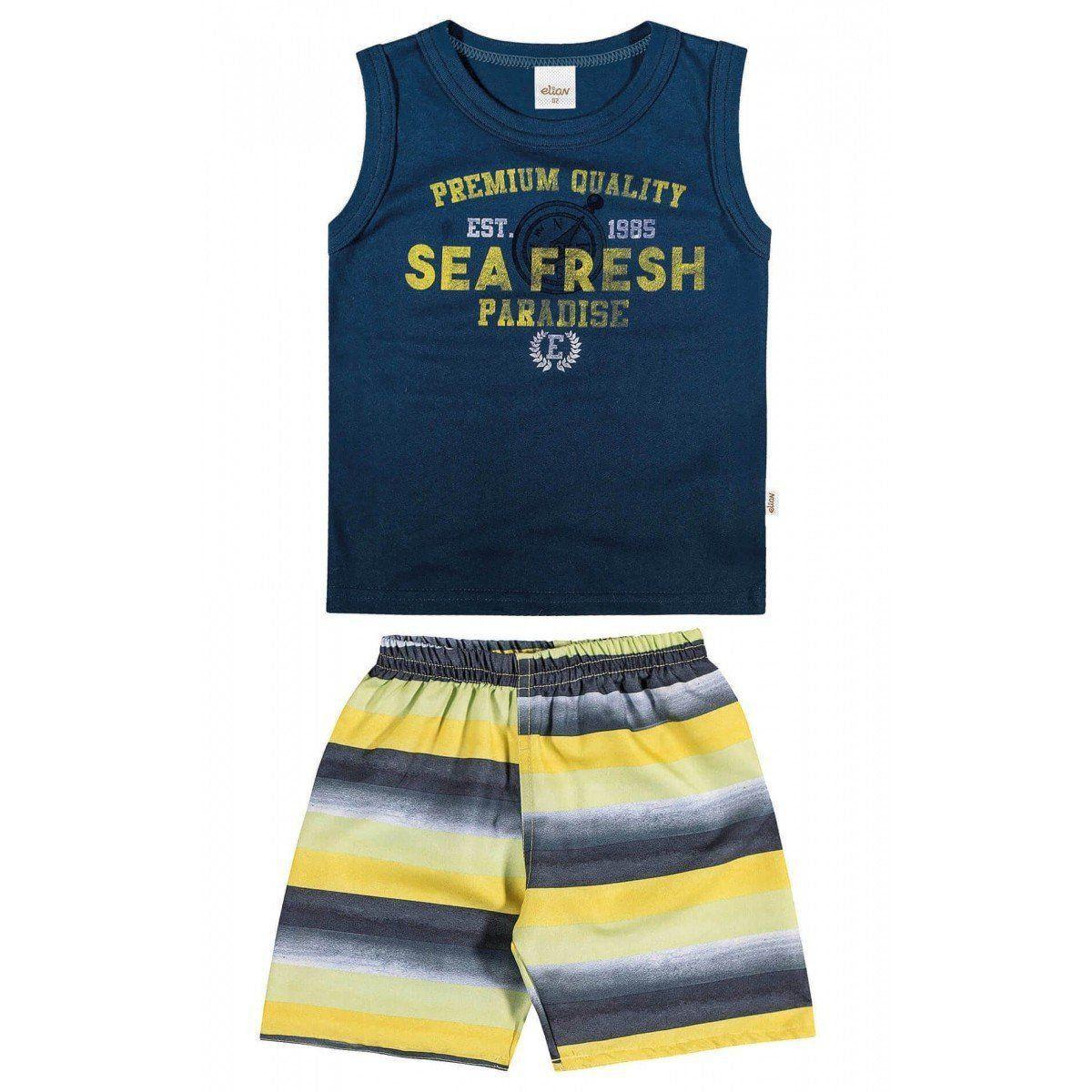 Conjunto Infantil Masculino Azul Marinho Sea Fresh Elian