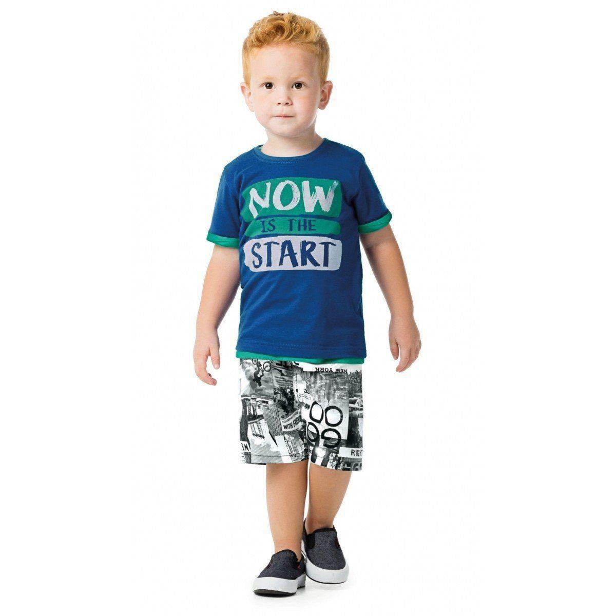 Conjunto Infantil Masculino Azul Now is the Start Malwee