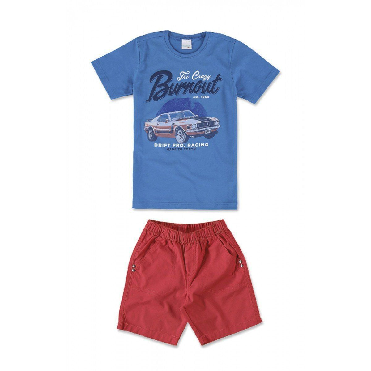 Conjunto Infantil Masculino Azul Royal Burnout Malwee