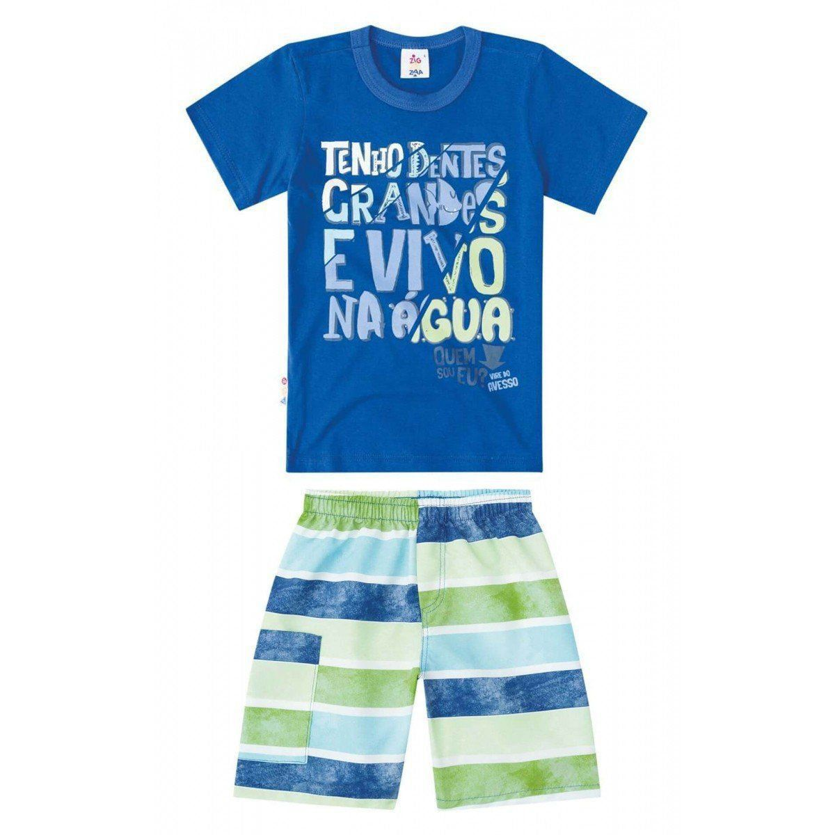 Conjunto Infantil Masculino Azul Royal Quem sou eu? Zig Zig Zaa