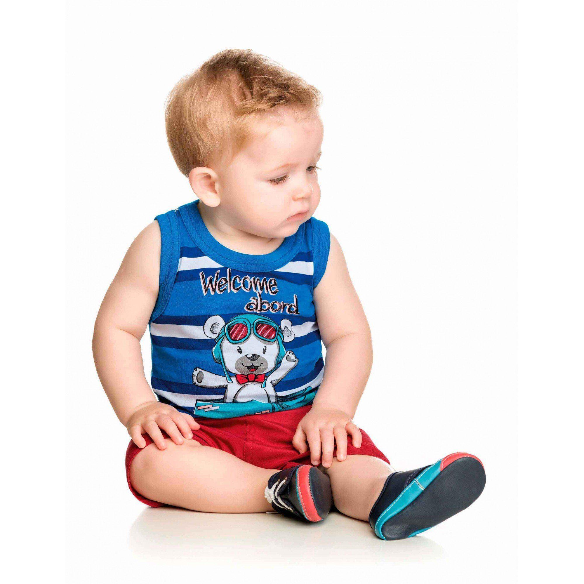 Conjunto Infantil Masculino Azul Royal Welcome Abord Elian