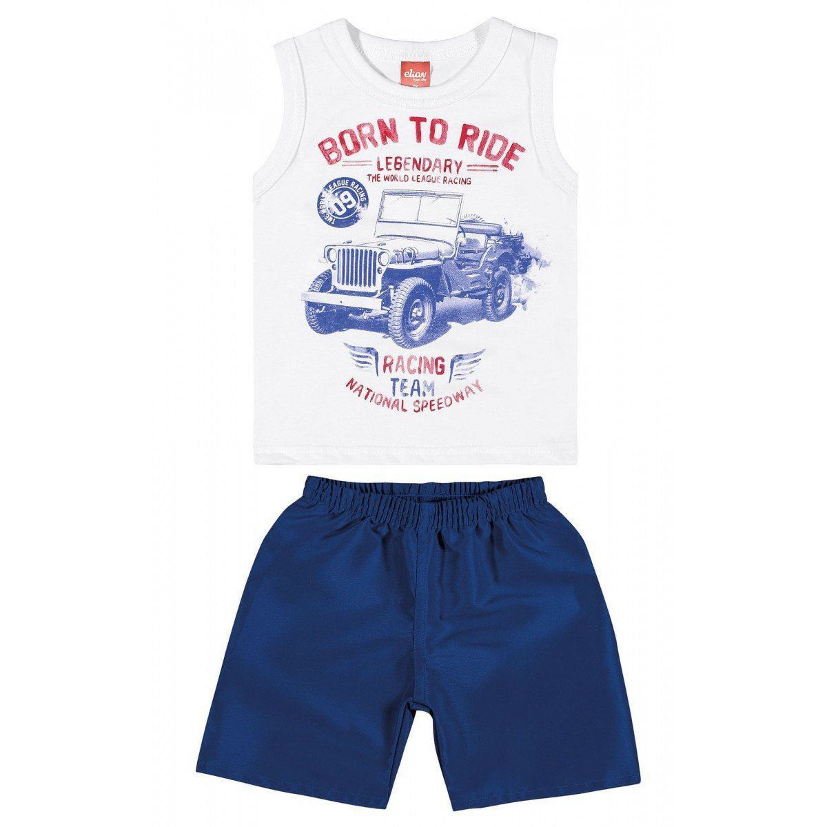 Conjunto Infantil Masculino Branco Born to Ride Elian