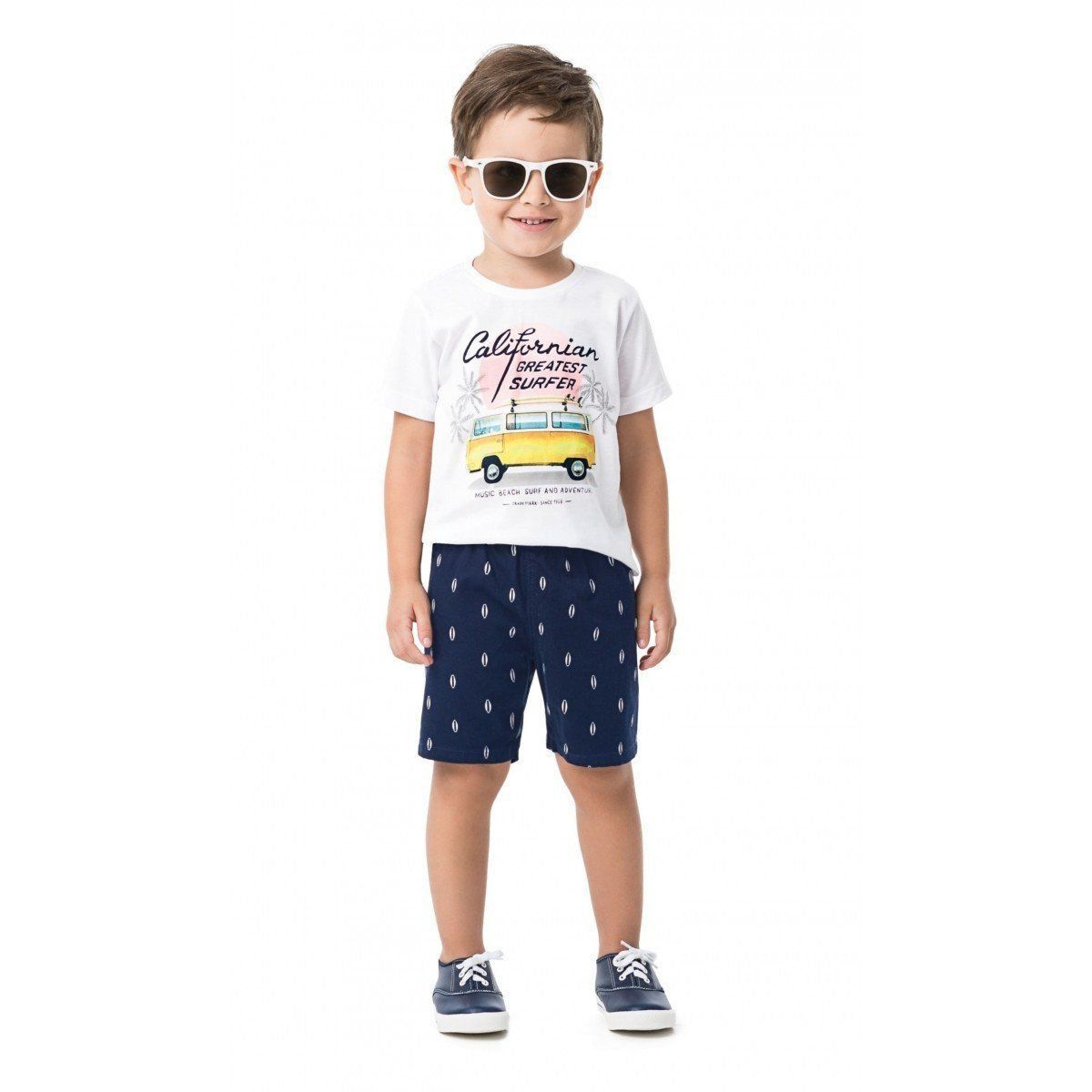 Conjunto Infantil Masculino Branco Californian Kombi Malwee