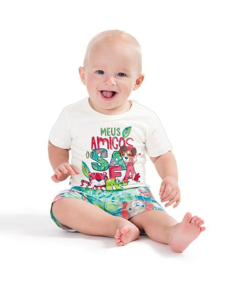 Conjunto Infantil Masculino Branco Meus Amigos do Safari Zig Zig Zaa