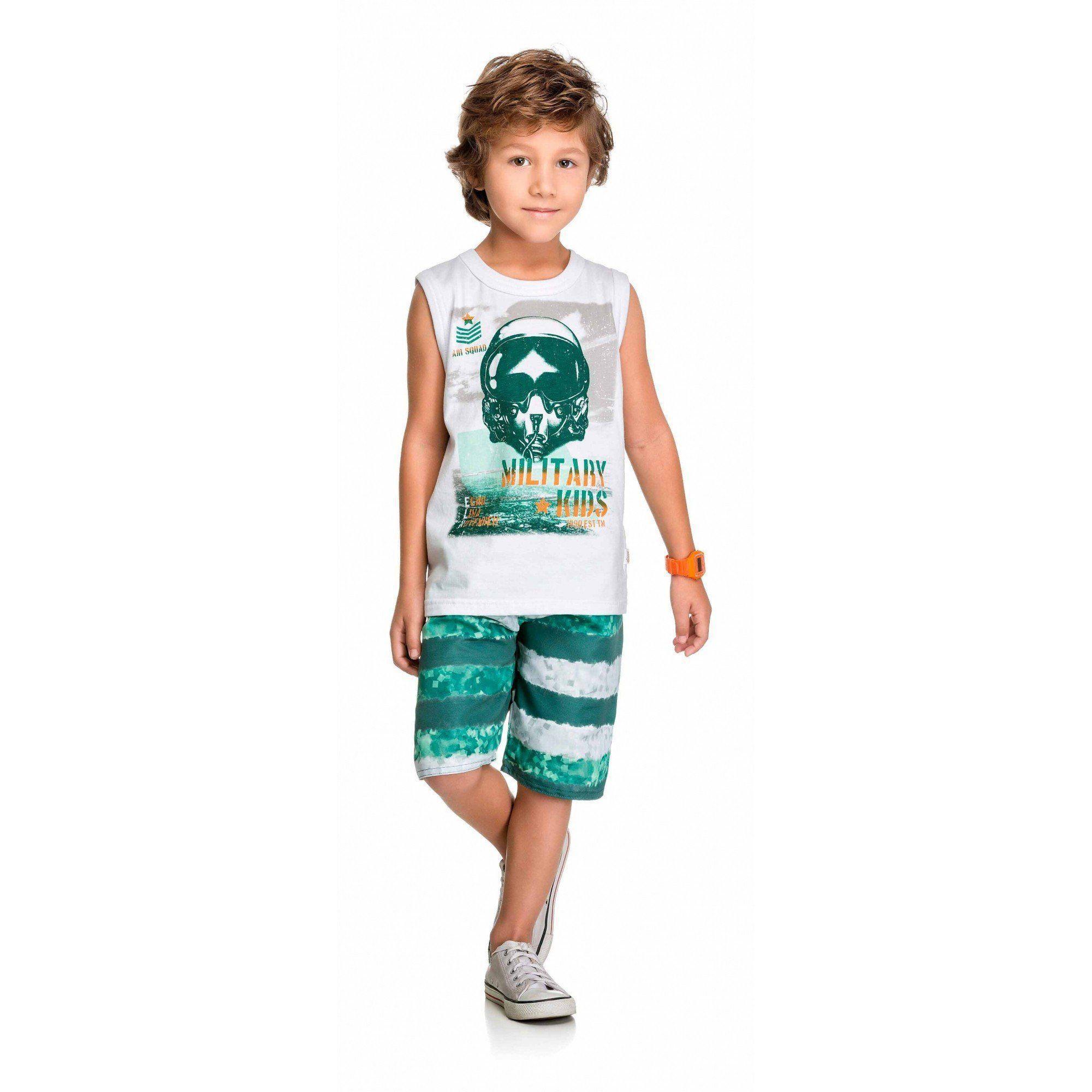 Conjunto Infantil Masculino Branco Military Elian