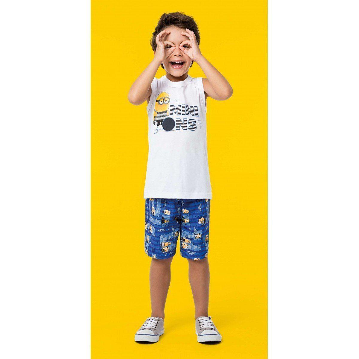 Conjunto Infantil Masculino Branco Minions Malwee