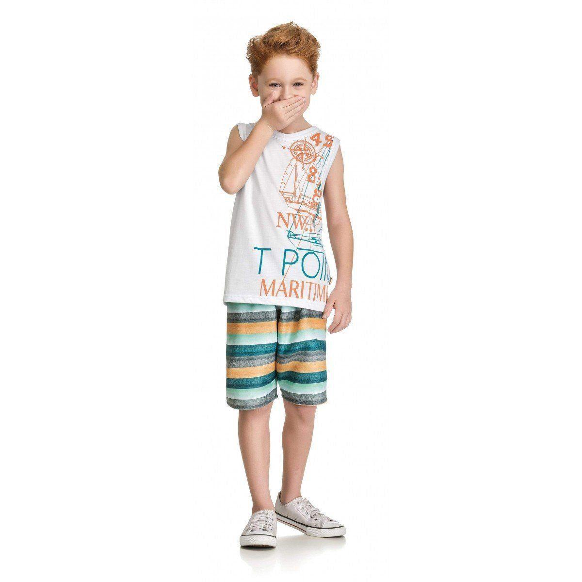 Conjunto Infantil Masculino Branco Point Elian