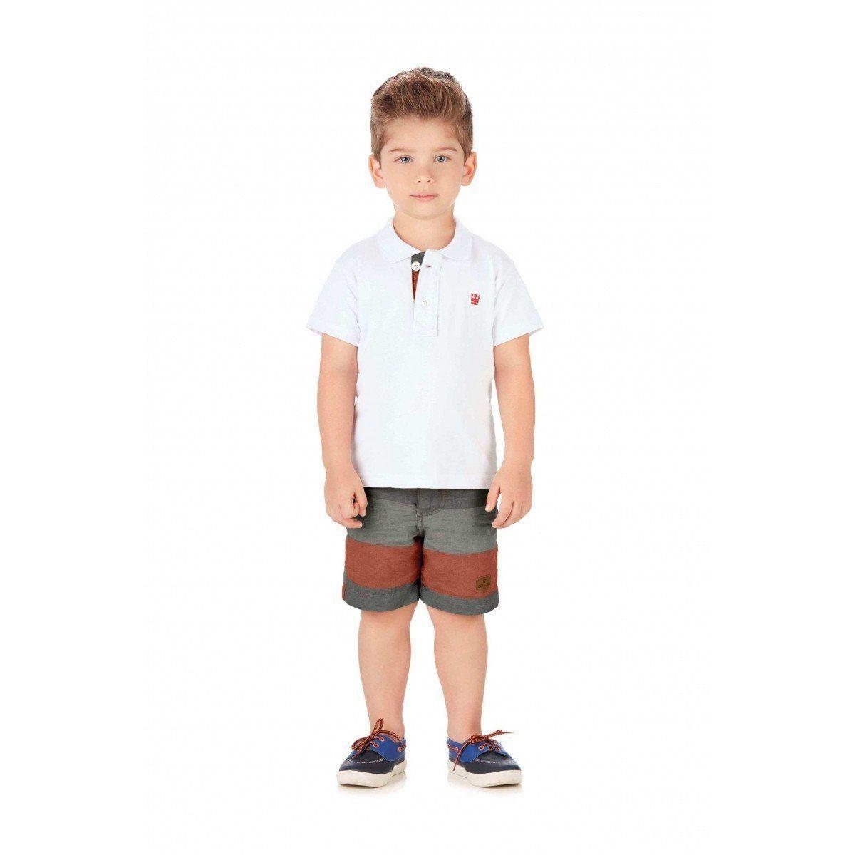 Conjunto Infantil Masculino Branco Polo Infantil Colorittá