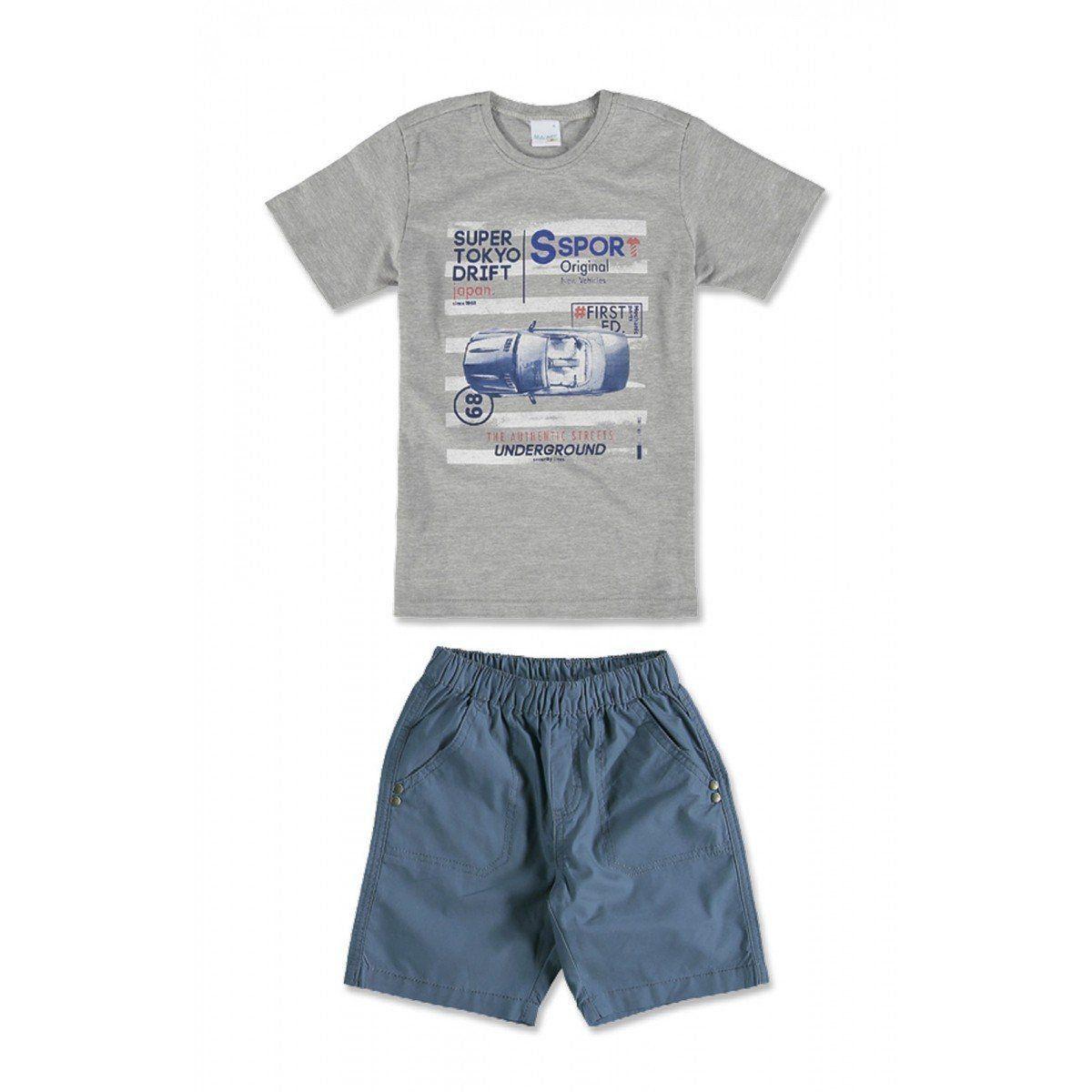 Conjunto Infantil Masculino Cinza Mescla Carro Malwee