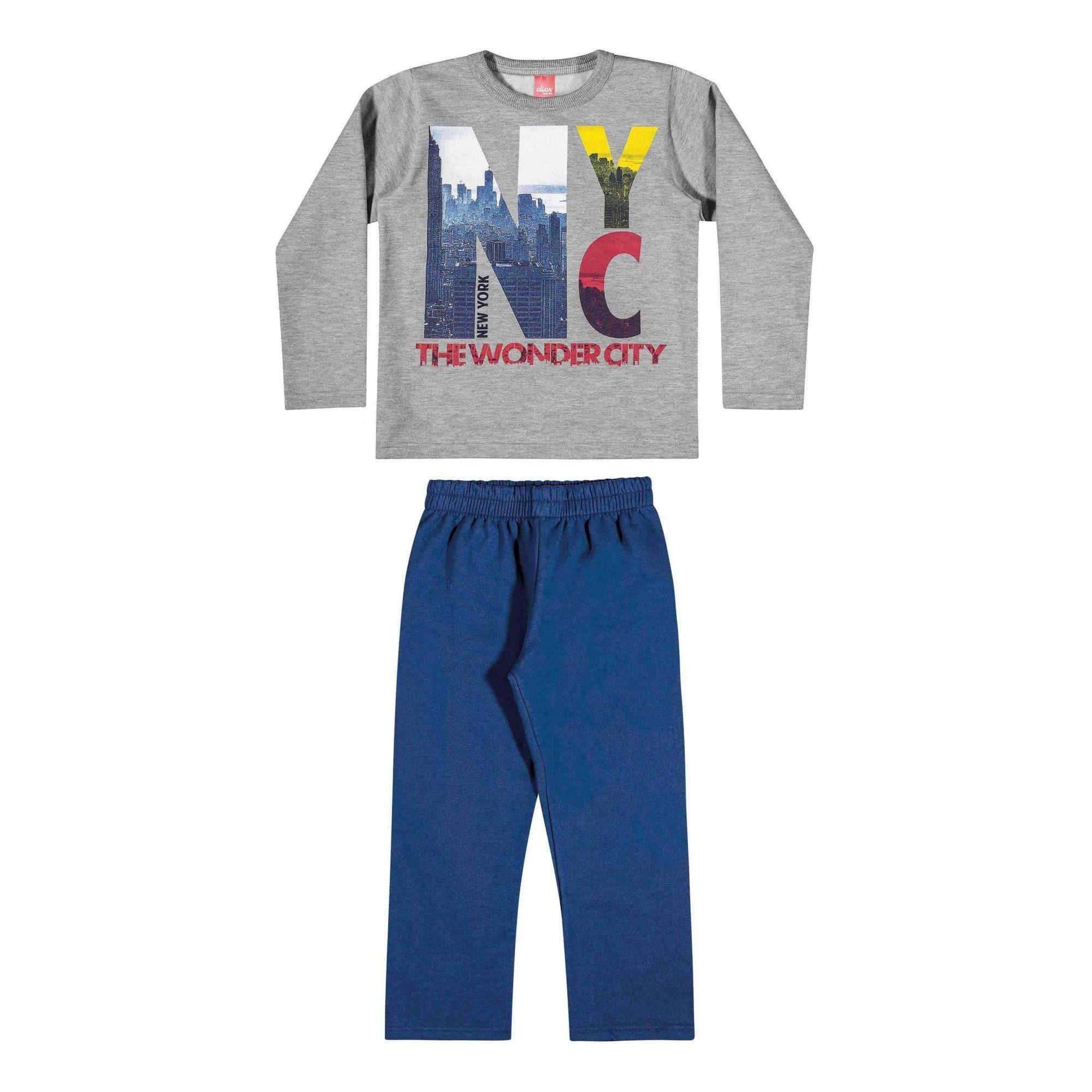 Conjunto Infantil Masculino Inverno Cinza Mescla New  York Elian