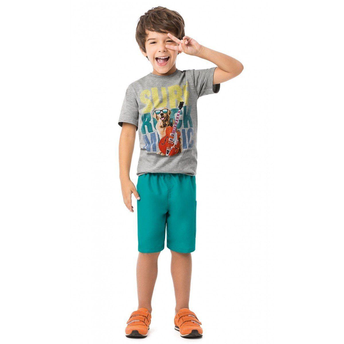 Conjunto Infantil Masculino Cinza Mescla Surf Rock Music Malwee