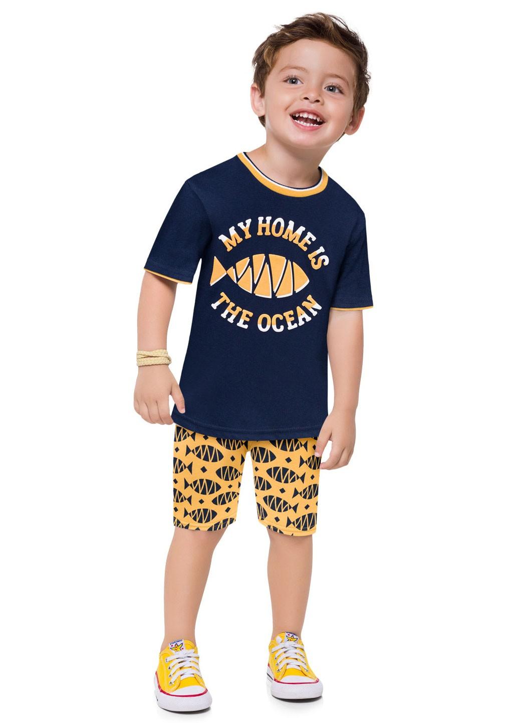 Conjunto Infantil Masculino Short e Camiseta com Máscara Azul Marinho - Kyly