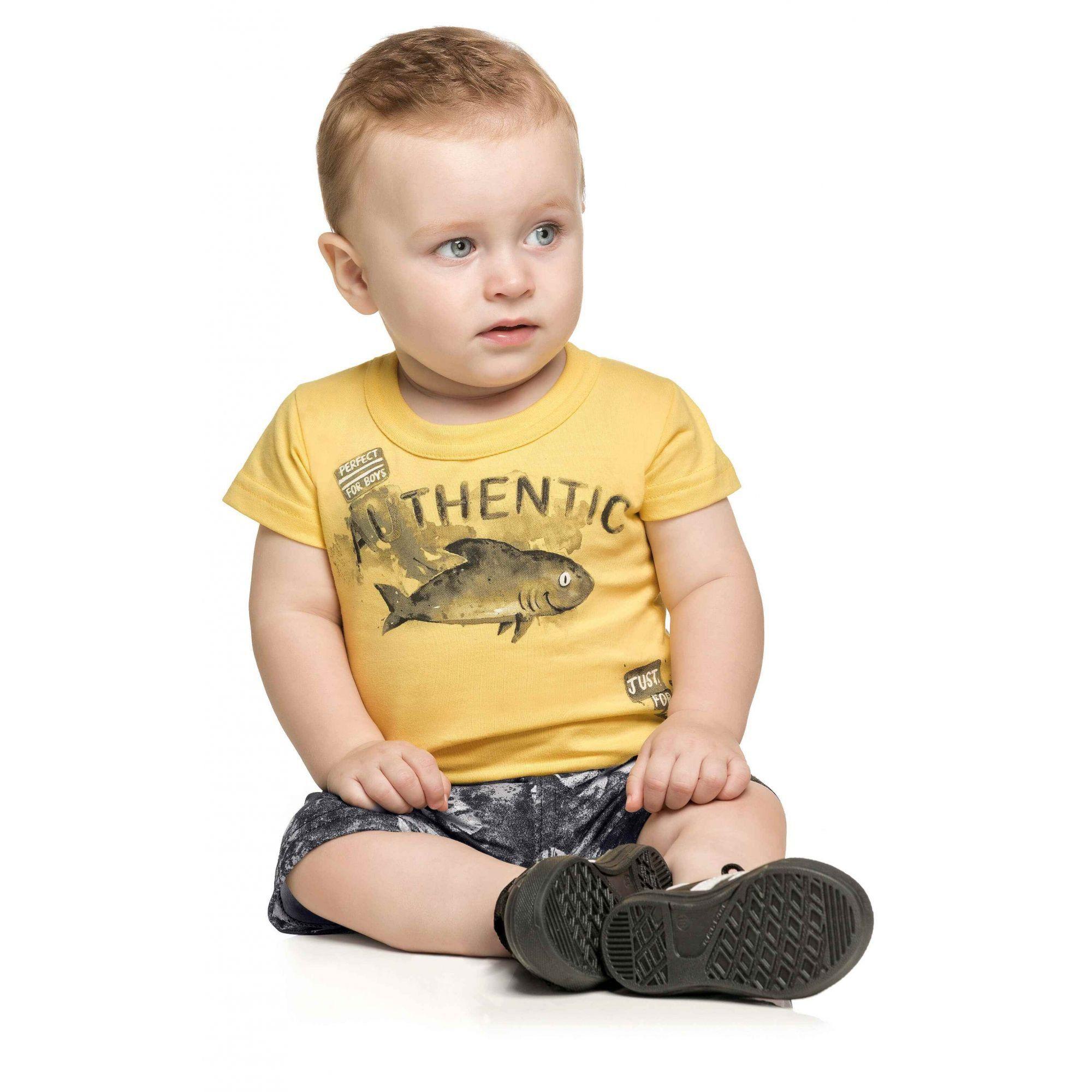 Conjunto Infantil Masculino Amarelo Authentic Elian