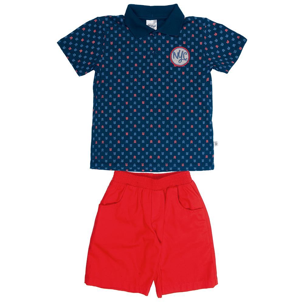 533728647 Conjunto Infantil Masculino Azul Verão Abrange | Armário Infantil