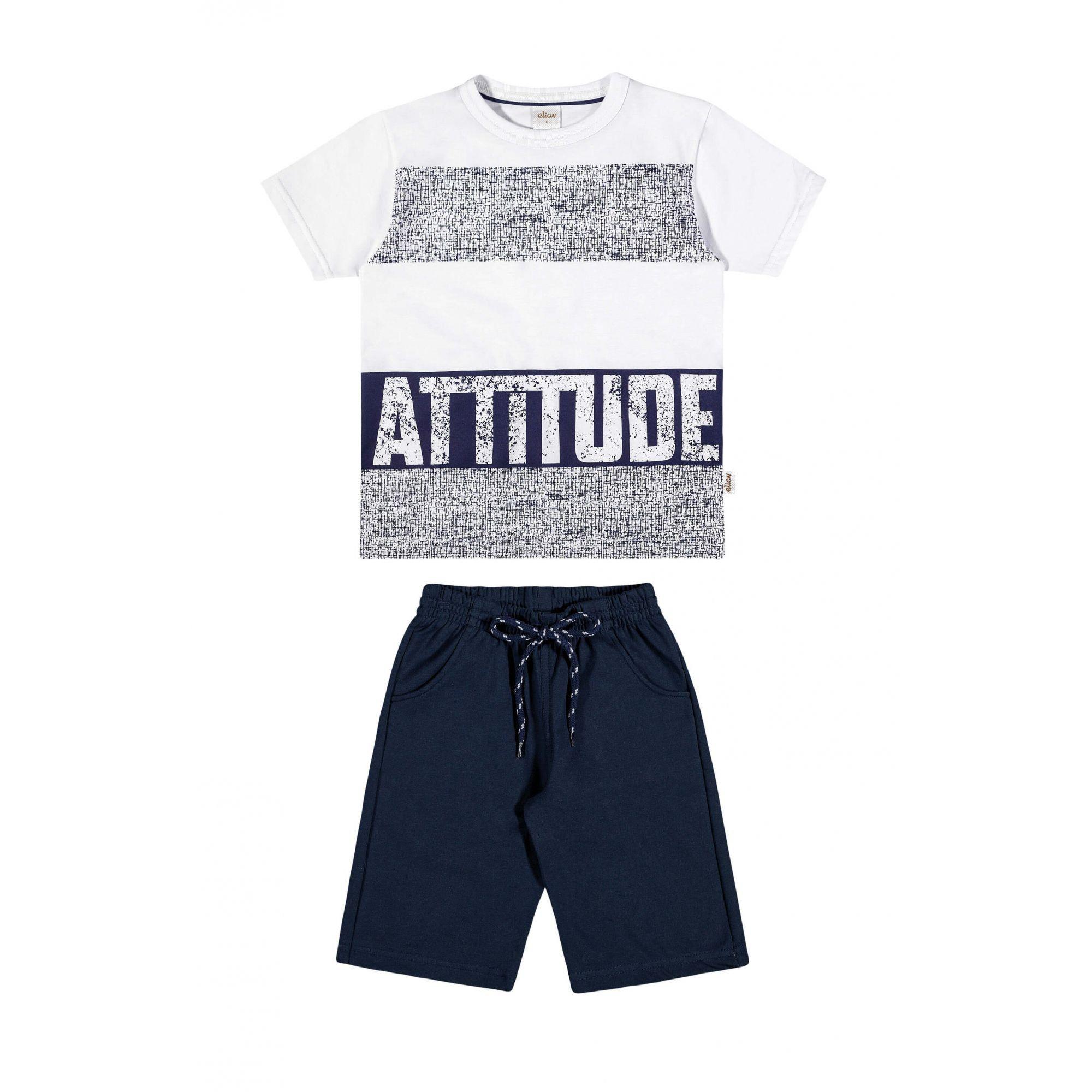 Conjunto Infantil Masculino Branco Attitude Elian