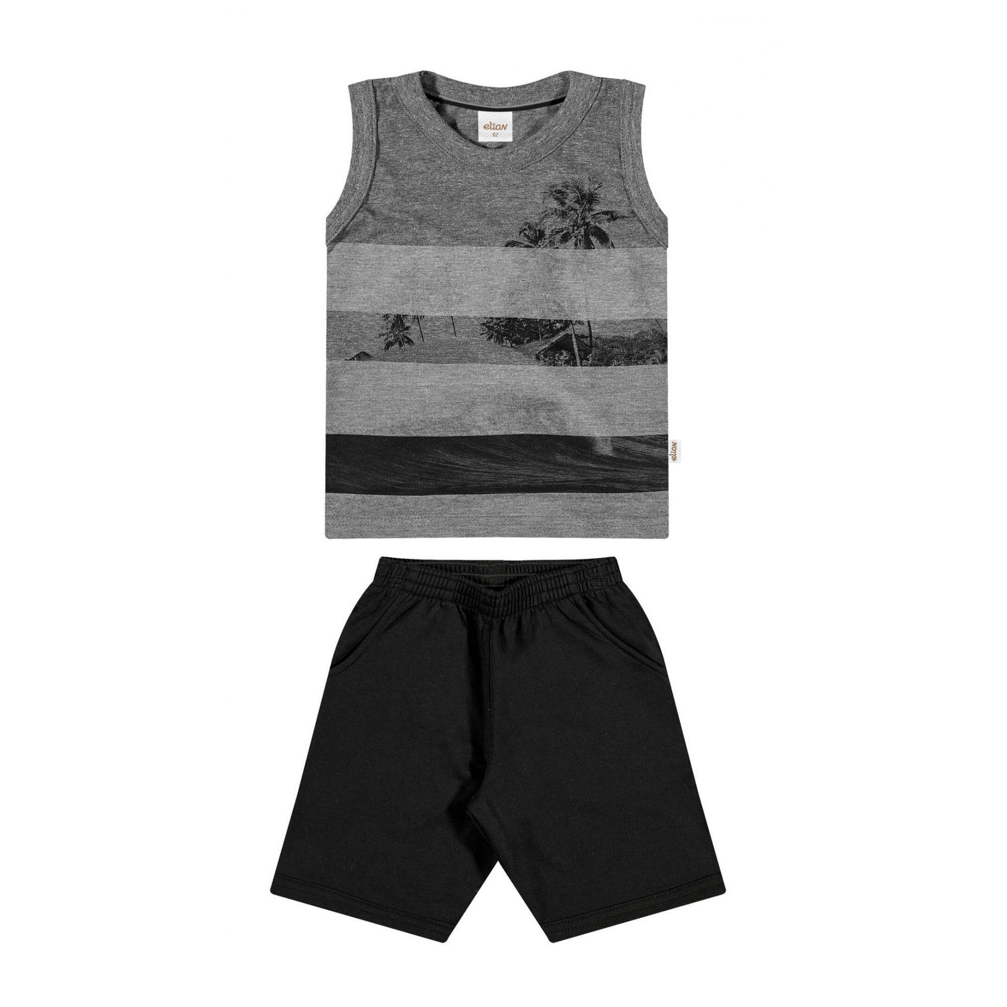 Conjunto Infantil Masculino Cinza Mescla Escuro Praia Elian