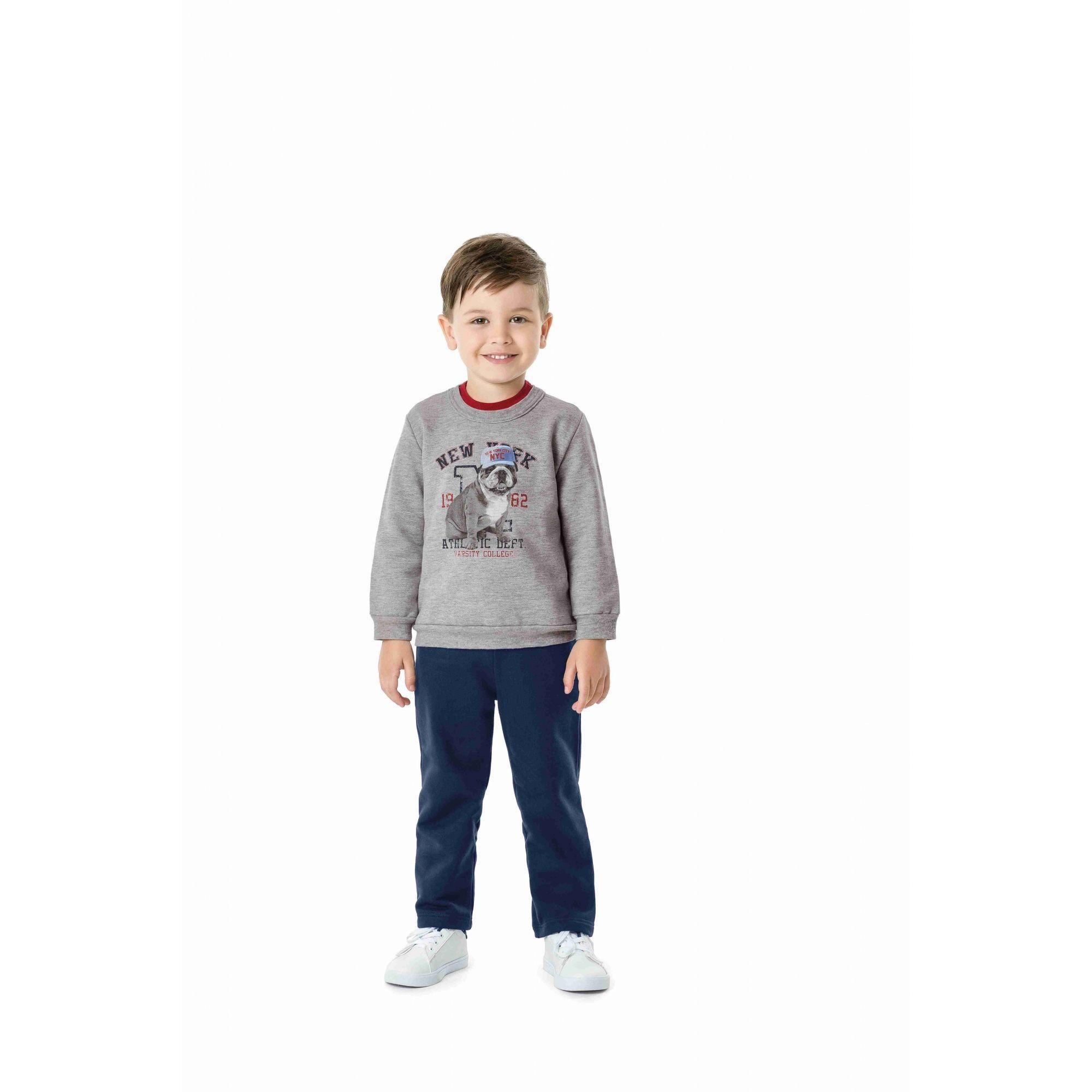 Conjunto Infantil Masculino Inverno Cinza Mescla New York Malwee