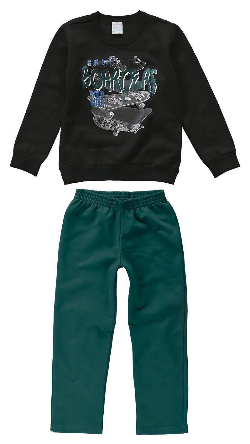 Conjunto Infantil Masculino Inverno Preto Skate Malwee
